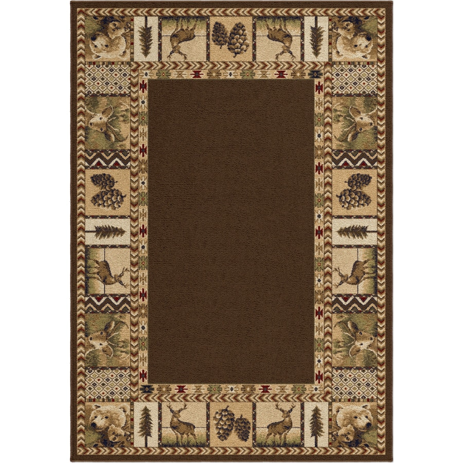 Orian Rugs Cherokee Brown Rectangular Indoor Machine-Made Lodge Area Rug (Common: 5 x 8; Actual: 5.25-ft W x 7.5-ft L x 0-ft Dia)