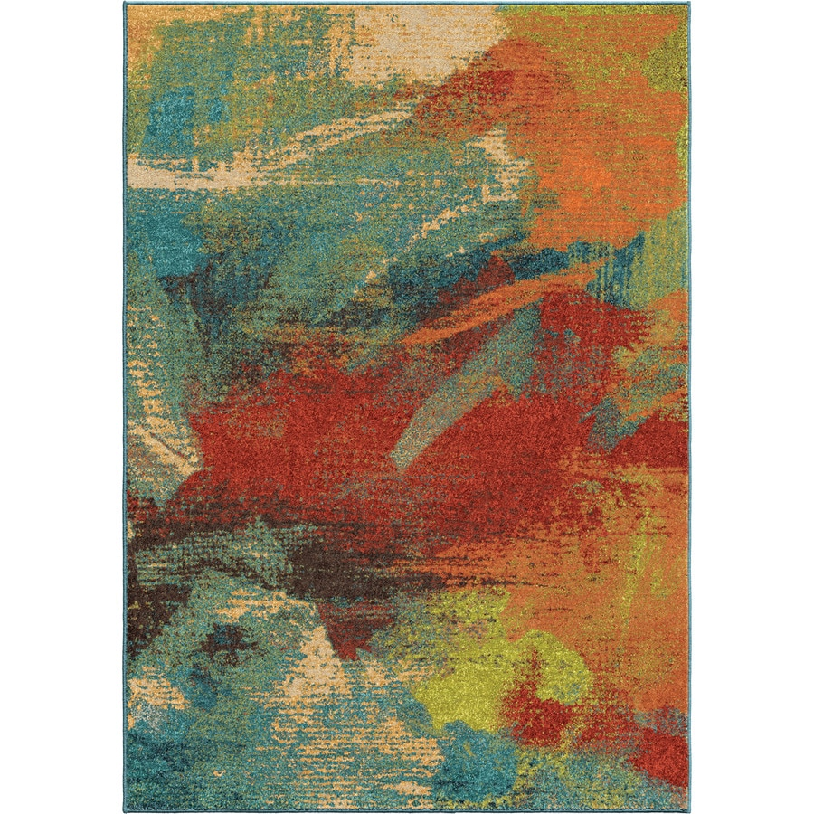 Orian Rugs Opulence Abstr Blue Rectangular Indoor Machine-made Novelty Area Rug (Common: 5 x 8; Actual: 5.25-ft W x 7.5-ft L)