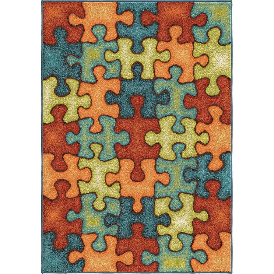Orian Rugs Perplex Puzzle Multi Rectangular Indoor/Outdoor Machine-made Kids Area Rug (Common: 5 x 8; Actual: 5.17-ft W x 7.5-ft L)