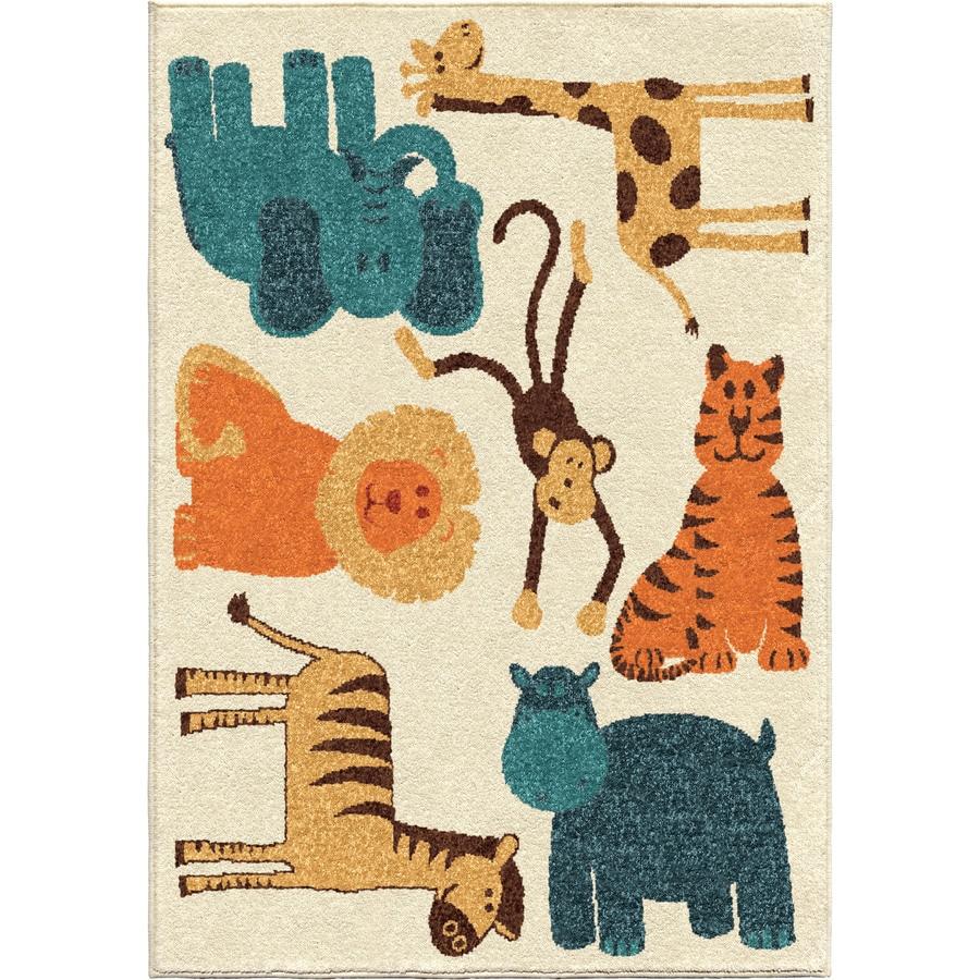 Orian Rugs My room is Zoo Beige Indoor/Outdoor Kids Throw Rug (Common: 4 x 6; Actual: 3.83-ft W x 5.17-ft L)