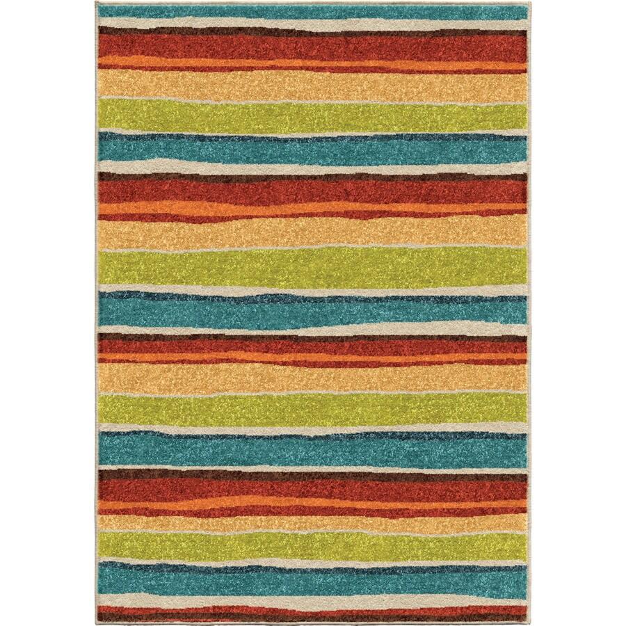Orian Rugs Dreamy Stripe Multi Rectangular Indoor/Outdoor Machine-made Kids Throw Rug (Common: 4 x 6; Actual: 3.83-ft W x 5.17-ft L)