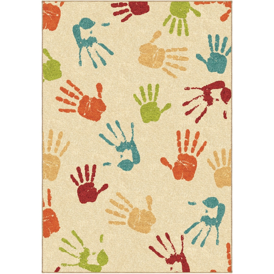 Orian Rugs Thankful Hands Ivory Indoor/Outdoor Kids Area Rug (Common: 5 x 8; Actual: 5.17-ft W x 7.5-ft L)