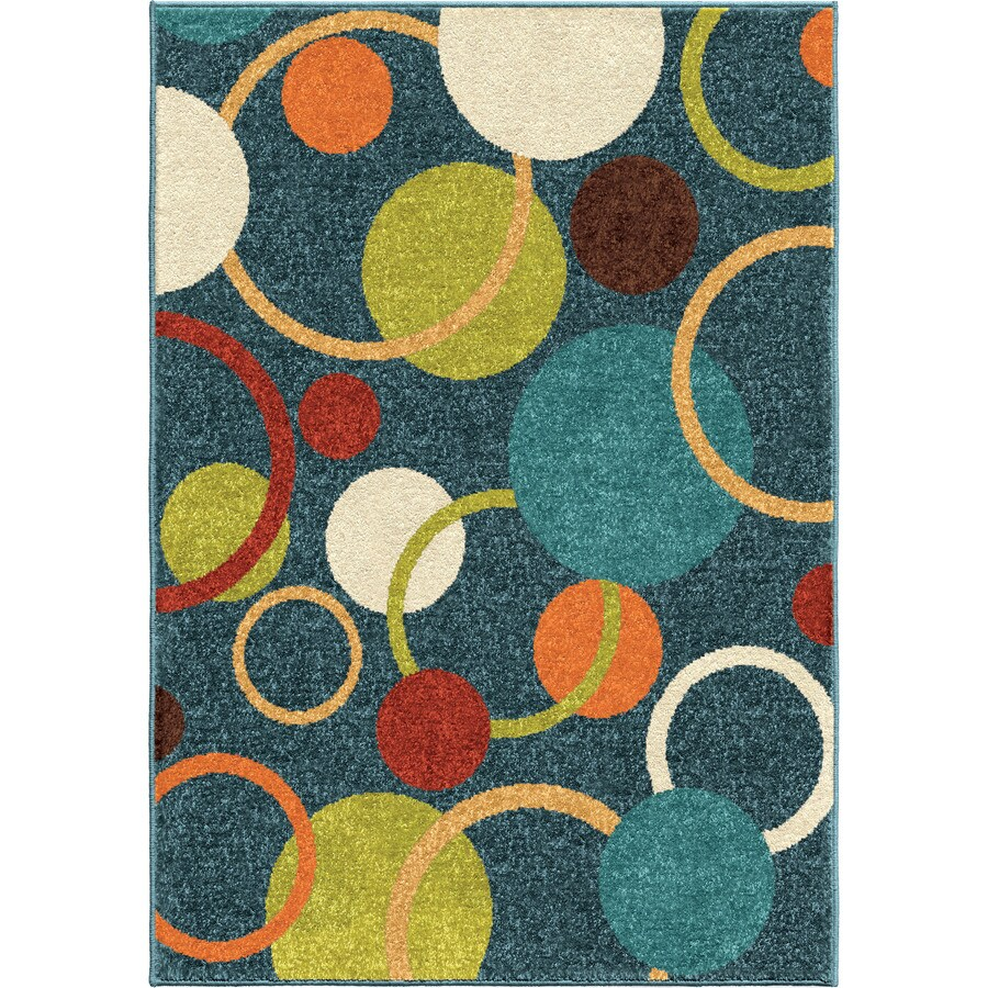 Orian Rugs Circles Sky Blue Rectangular Indoor/Outdoor Machine-made Kids Area Rug (Common: 5 x 8; Actual: 5.17-ft W x 7.5-ft L)