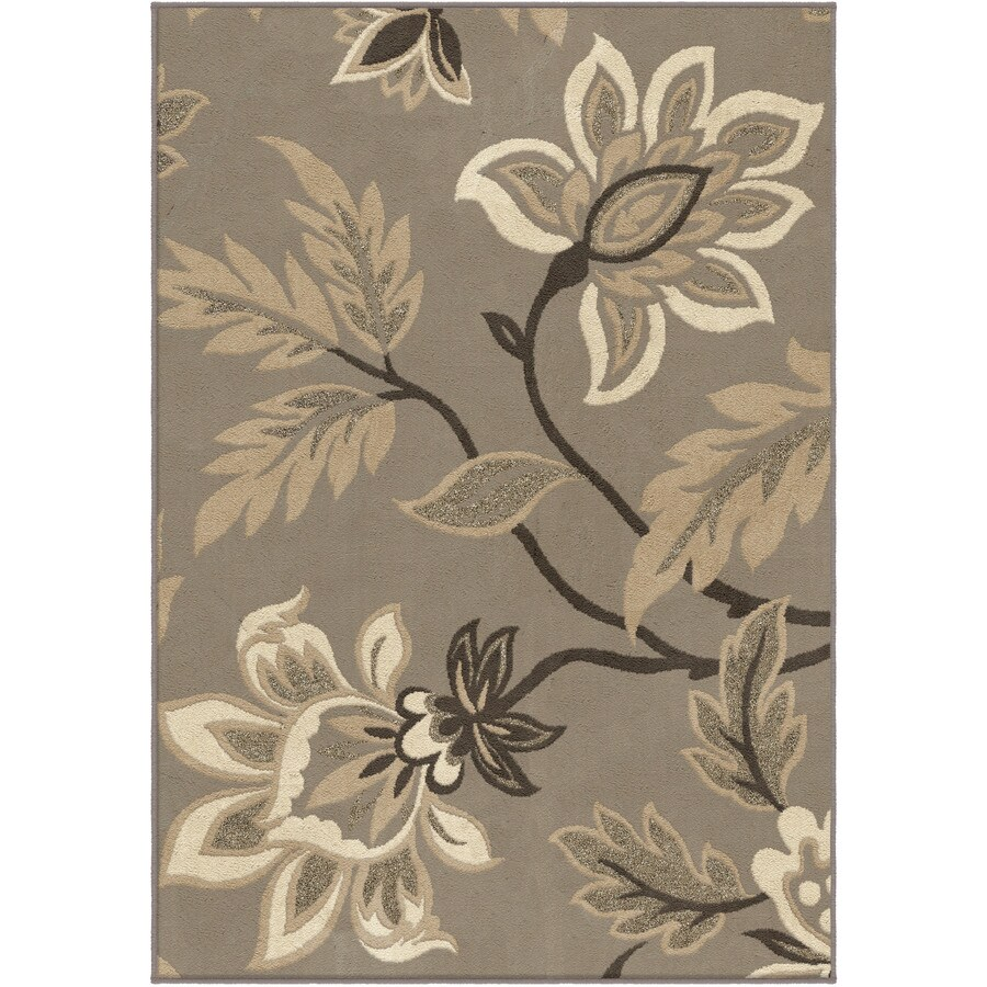 Orian Rugs Sabrina Taupe Rectangular Indoor Machine-made Nature Throw Rug (Common: 4 x 6; Actual: 3.92-ft W x 5.42-ft L)