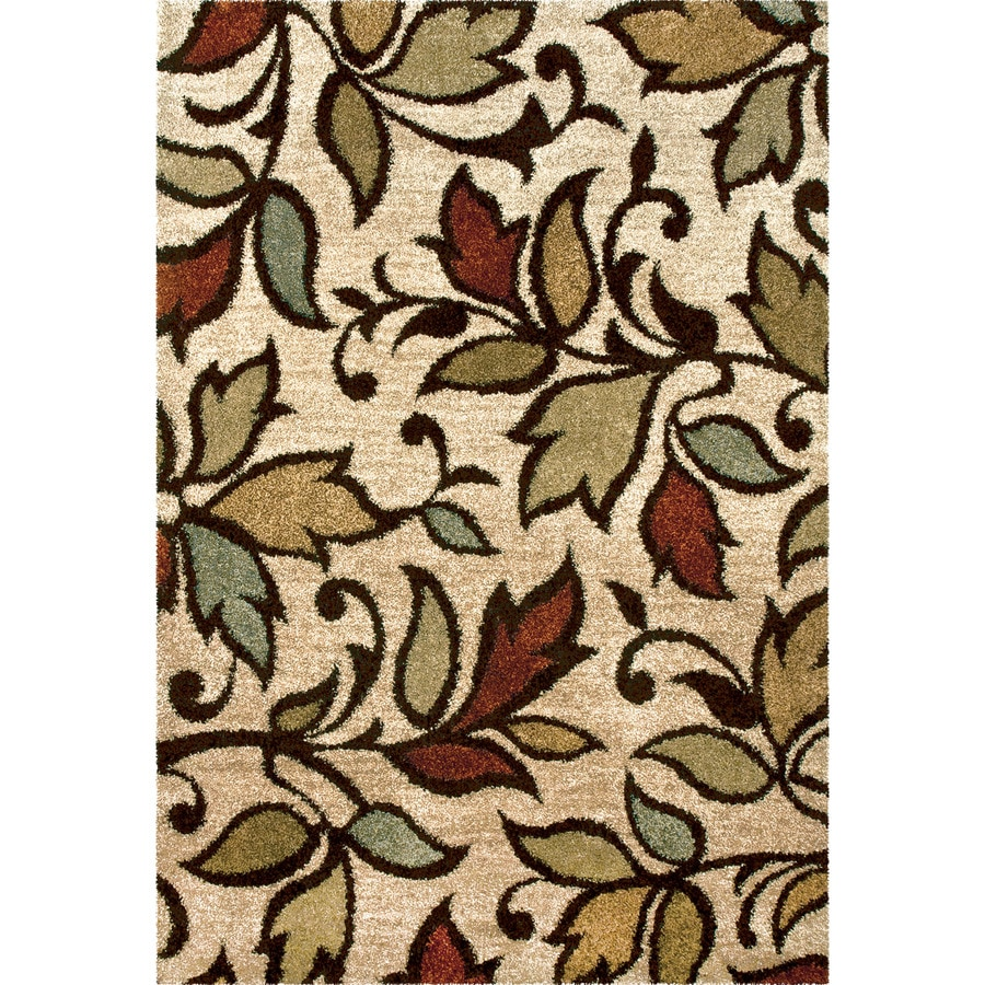 Orian Rugs Vine Beige Rectangular Indoor Machine-made Nature Throw Rug (Common: 4 x 6; Actual: 3.92-ft W x 5.42-ft L)
