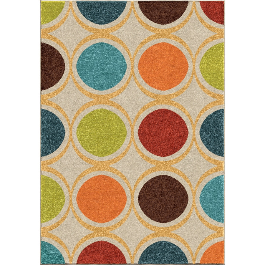 Orian Rugs Color Circles Ivory Rectangular Indoor/Outdoor Machine-made Novelty Area Rug (Common: 8 x 11; Actual: 7.67-ft W x 10.83-ft L)