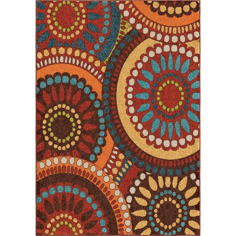 Orian Rugs Pinwheel Orange Indoor/Outdoor Novelty Area Rug (Common: 8 x 11; Actual: 7.67-ft W x 10.83-ft L)