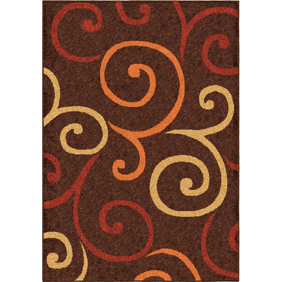 Orian Rugs Multi Whirls Brown Rectangular Indoor/Outdoor Machine-made Novelty Area Rug (Common: 5 x 8; Actual: 5.17-ft W x 7.5-ft L)