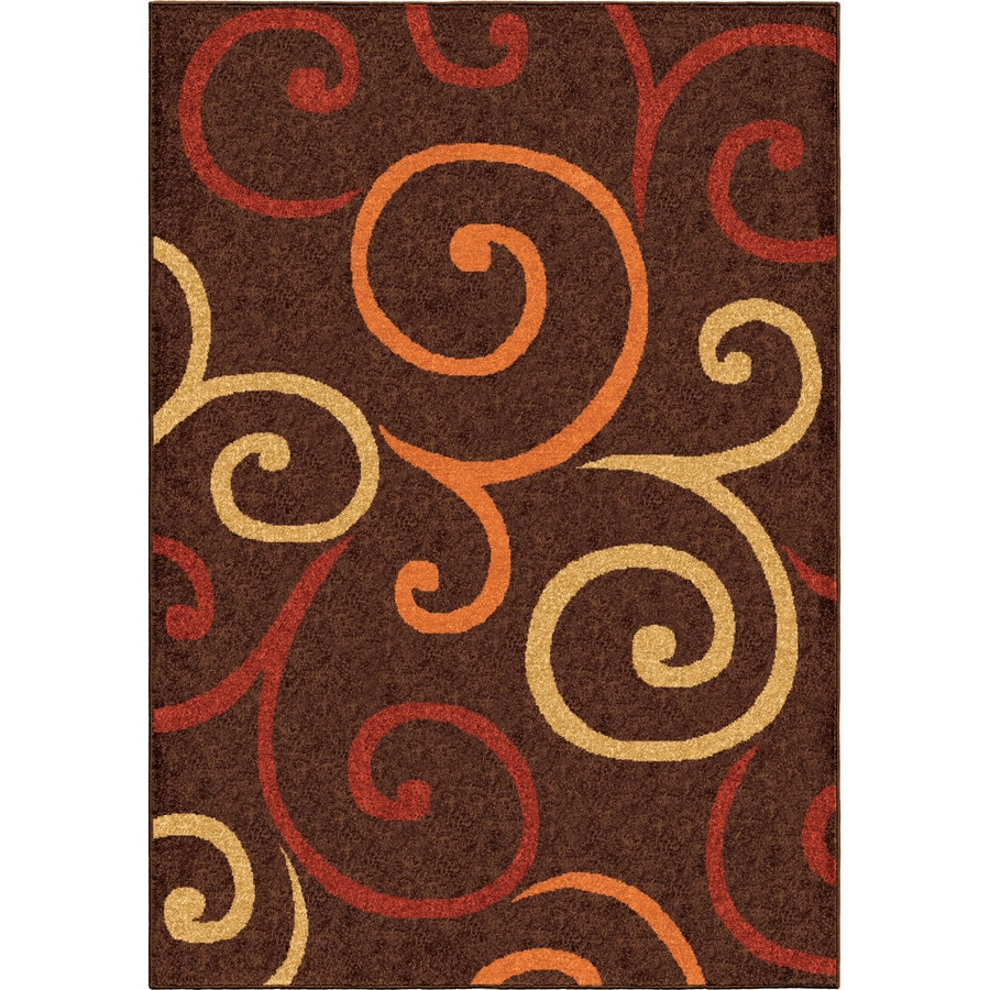 Orian Rugs Multi Whirls Brown Rectangular Indoor/Outdoor Machine-made Novelty Area Rug (Common: 8 x 11; Actual: 7.67-ft W x 10.83-ft L)