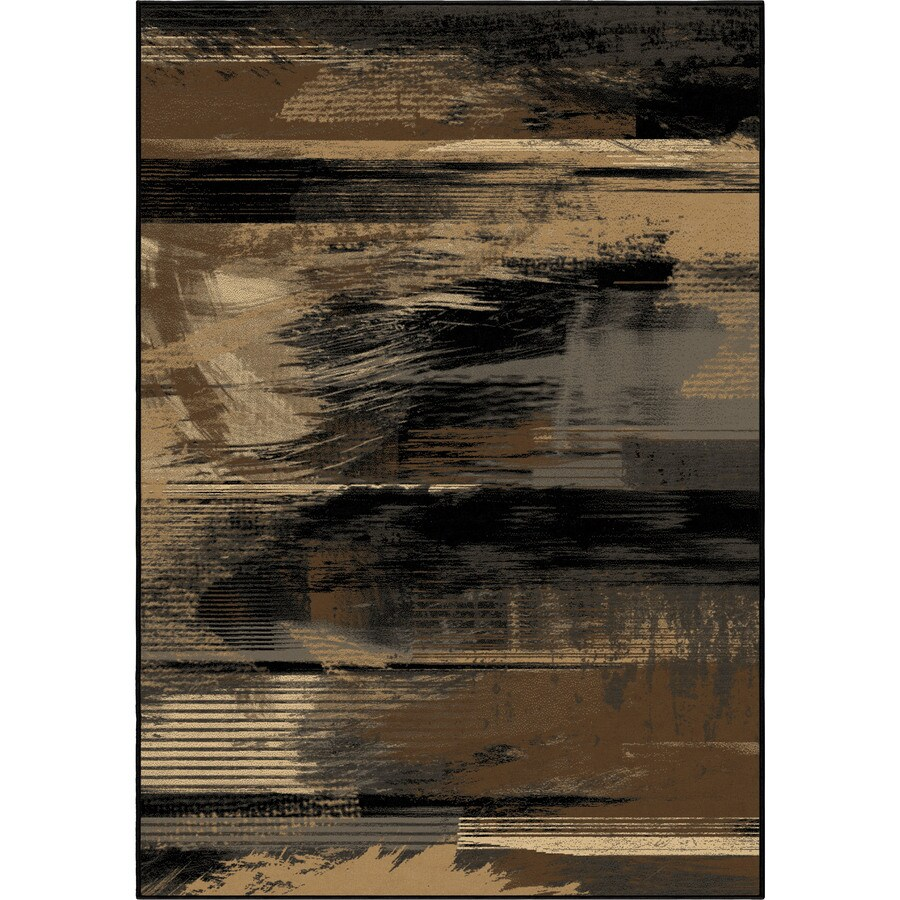 Orian Rugs Artistic Smear Black Rectangular Indoor Machine-made Novelty Area Rug (Common: 5 x 8; Actual: 5.25-ft W x 7.5-ft L)