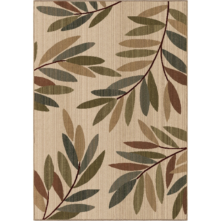 Orian Rugs Tangled Leaves Beige Rectangular Indoor Machine-made Nature Area Rug (Common: 8 x 11; Actual: 7.83-ft W x 10.83-ft L)