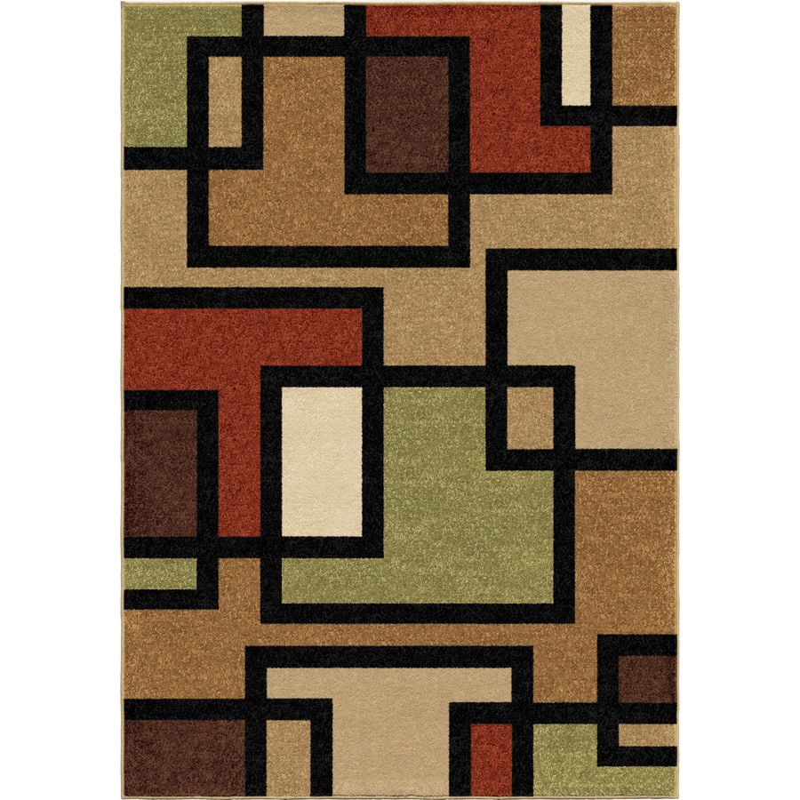 Orian Rugs Blended-Block Multi Rectangular Indoor/Outdoor Machine-made Novelty Area Rug (Common: 5 x 8; Actual: 5.17-ft W x 7.5-ft L)