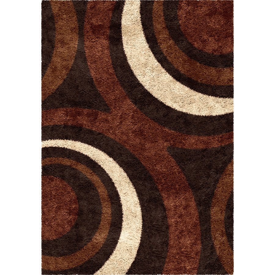 Orian Rugs Fire Hole Mocha Rectangular Indoor Machine-made Novelty Area Rug (Common: 5 x 8; Actual: 5.25-ft W x 7.5-ft L)