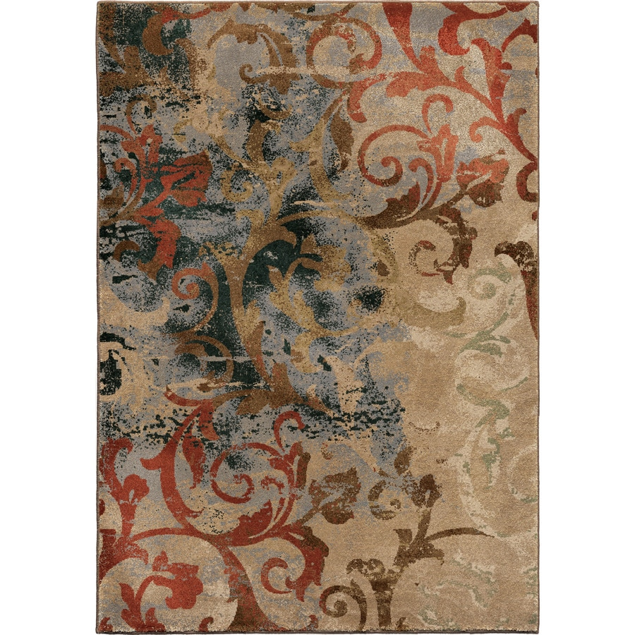 Orian Rugs Scroll Mayhem Brown Rectangular Indoor Machine-made Oriental Area Rug (Common: 8 x 11; Actual: 7.83-ft W x 10.83-ft L)