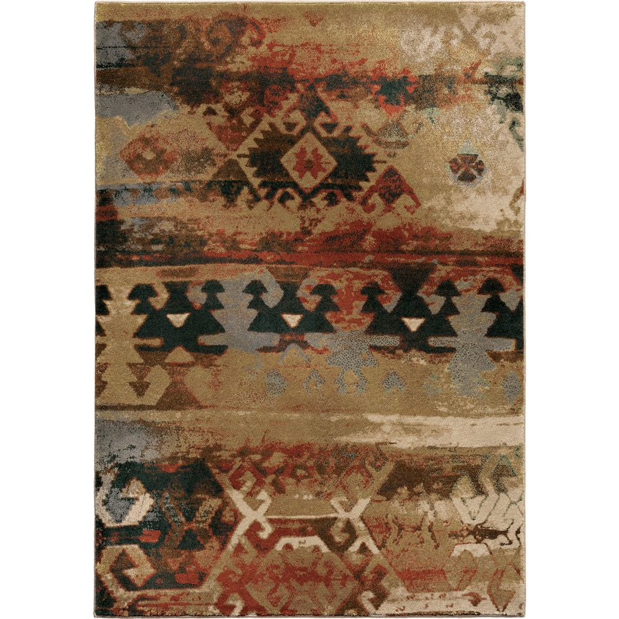 Orian Rugs Zodiac Brown Rectangular Indoor Machine-made Lodge Area Rug (Common: 8 x 11; Actual: 7.83-ft W x 10.83-ft L)