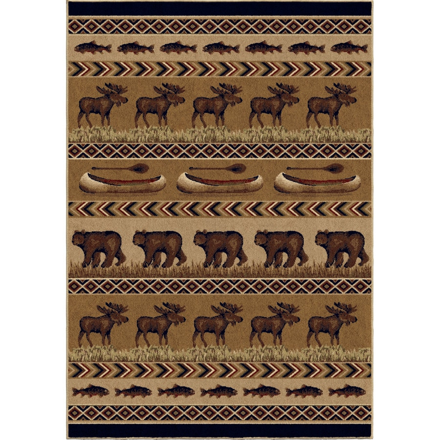 Orian Rugs Oregon Trail Brown Rectangular Indoor Machine-made Lodge Area Rug (Common: 8 x 11; Actual: 7.83-ft W x 10.83-ft L)