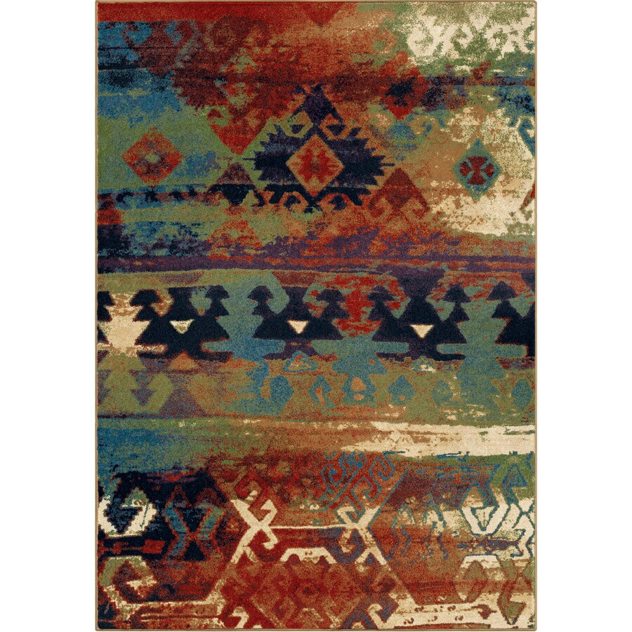 Orian Rugs Southwest Drm Blue Rectangular Indoor Machine-made Southwestern Area Rug (Common: 8 x 11; Actual: 7.83-ft W x 10.83-ft L)