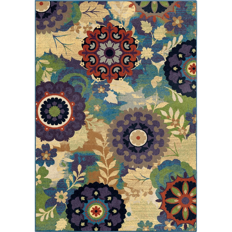 Orian Rugs Reckless Medall Aqua Rectangular Indoor Machine-made Nature Area Rug (Common: 8 x 11; Actual: 7.83-ft W x 10.83-ft L)