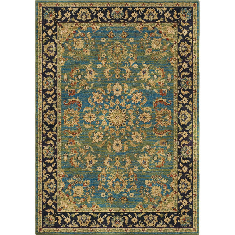 Orian Rugs Twisted Trad Aqua Rectangular Indoor Machine-made Oriental Area Rug (Common: 5 x 8; Actual: 5.25-ft W x 7.5-ft L)