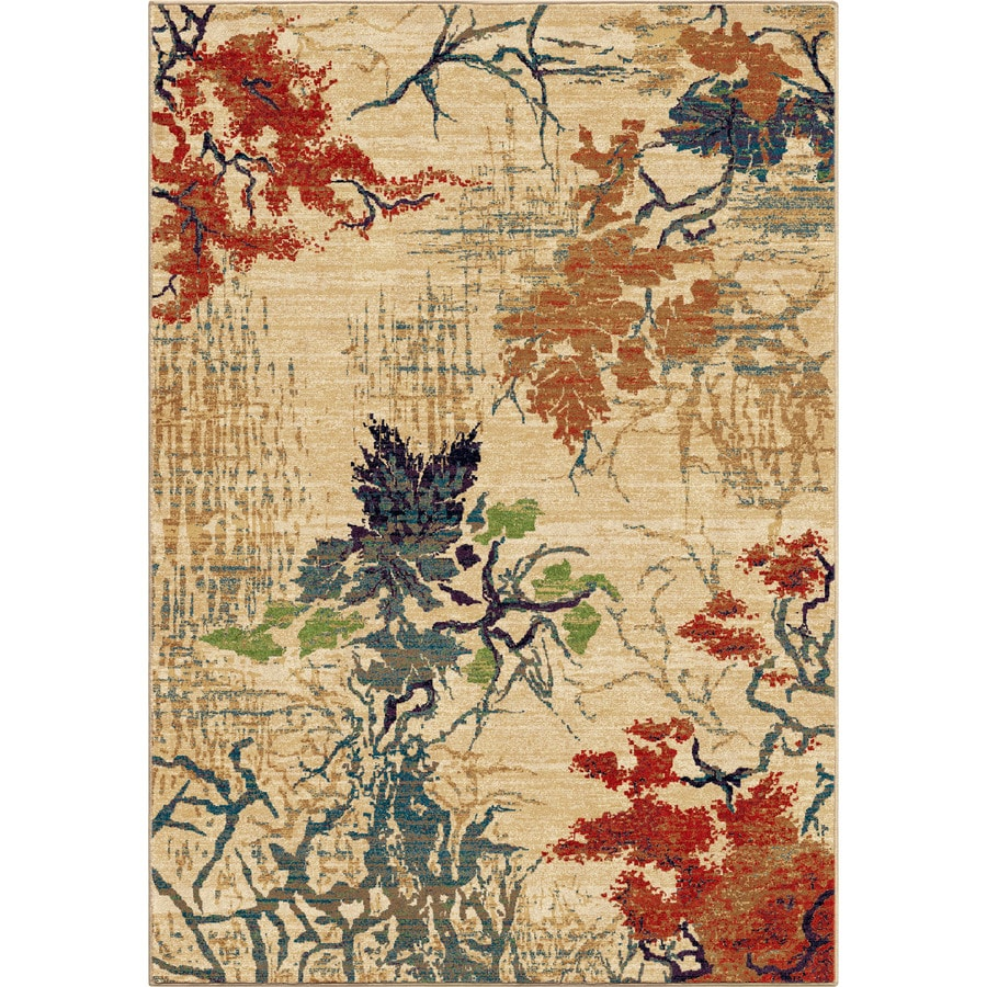 Orian Rugs Abstract Forr Ivory Rectangular Indoor Machine-made Nature Area Rug (Common: 8 x 11; Actual: 7.83-ft W x 10.83-ft L)