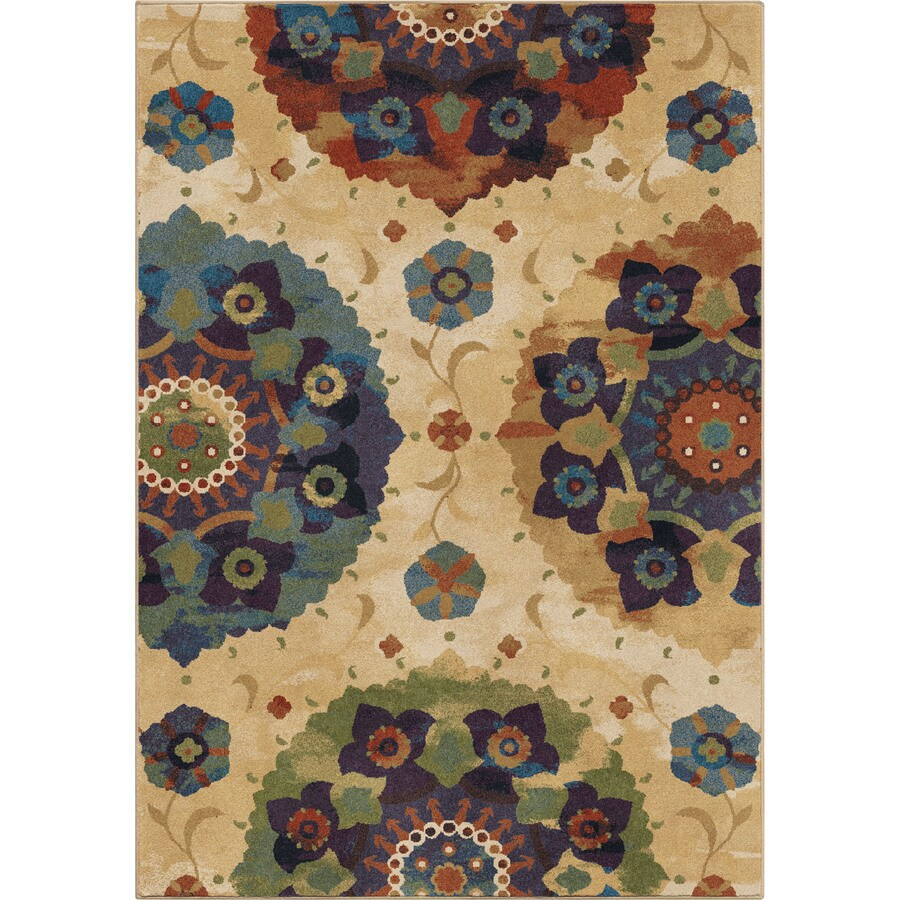 Orian Rugs Suzzanni Cream Multi Rectangular Indoor Machine-Made Throw Rug (Common: 4 x 5; Actual: 4-ft W x 5.42-ft L x 0-ft Dia)