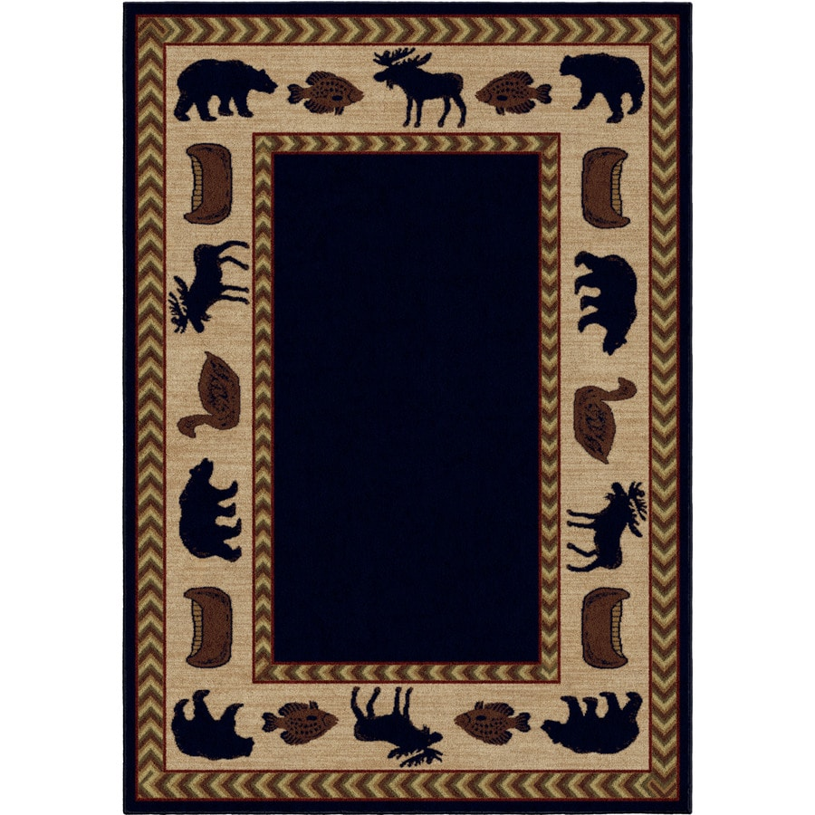 Orian Rugs Camp Evening Navy Rectangular Indoor Machine-Made Throw Rug (Common: 4 x 5; Actual: 4-ft W x 5.42-ft L x 0-ft Dia)