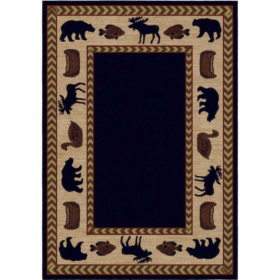 Orian Rugs Camp Evening Navy Rectangular Indoor Machine-Made Lodge Area Rug (Common: 5 x 8; Actual: 5-ft W x 7.5-ft L x 0-ft Dia)