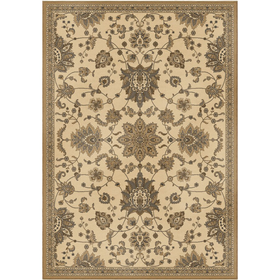 Orian Rugs Leafpoint Ivory Rectangular Indoor Machine-made Oriental Area Rug (Common: 8 x 11; Actual: 7.83-ft W x 10.83-ft L)