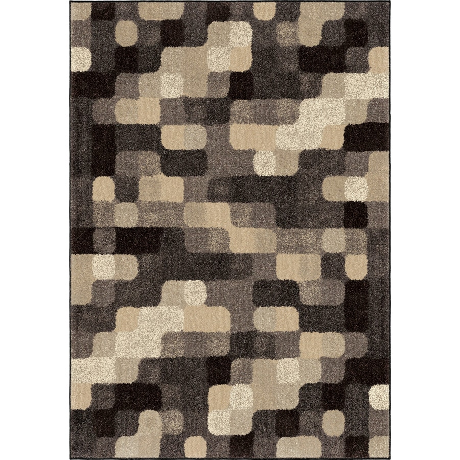 Orian Rugs Frisco Squares Gray Rectangular Indoor Machine-made Novelty Area Rug (Common: 5 x 8; Actual: 5.25-ft W x 7.5-ft L)