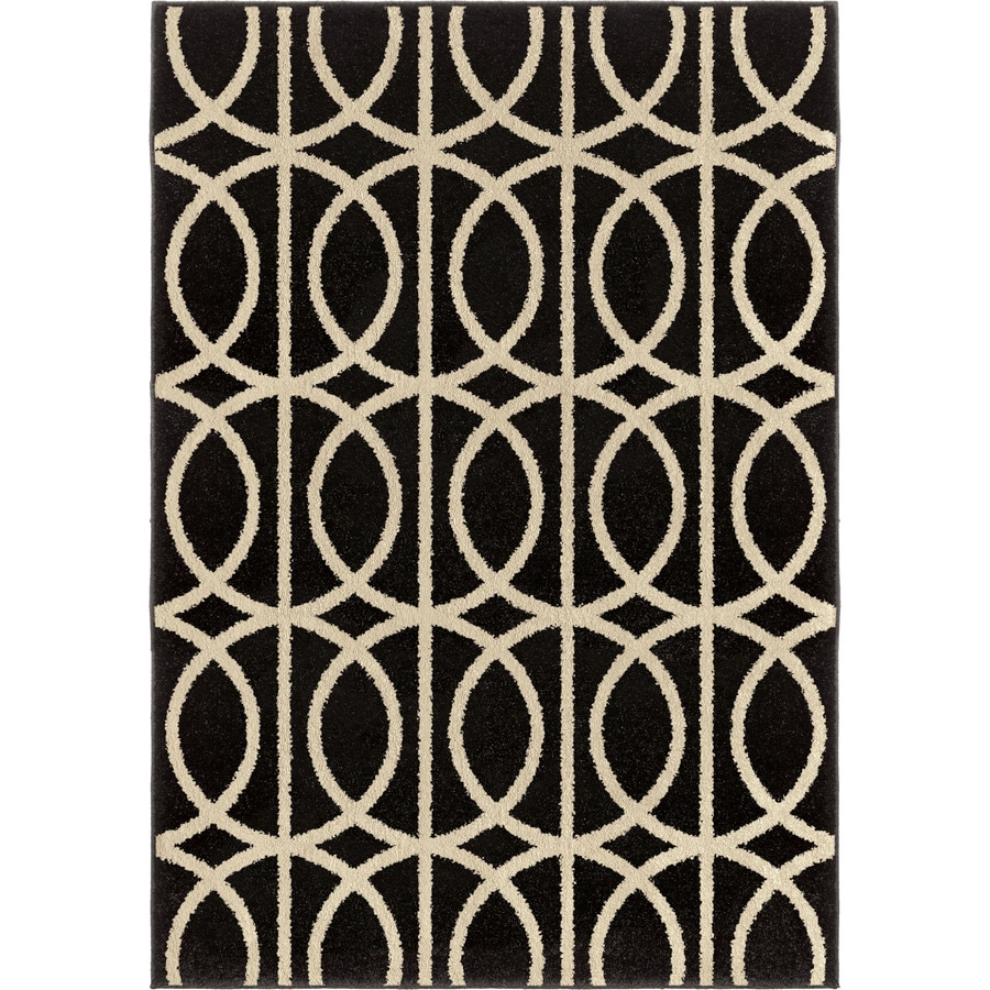 Orian Rugs Irvine Black Rectangular Indoor Machine-made Novelty Area Rug (Common: 5 x 8; Actual: 5.25-ft W x 7.5-ft L)