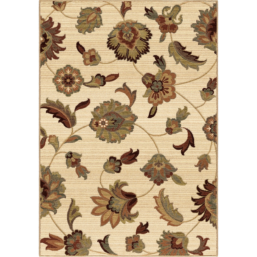 Orian Rugs Garden Story Ivory Rectangular Indoor Machine-made Nature Area Rug (Common: 7 x 10; Actual: 6.58-ft W x 9.67-ft L)