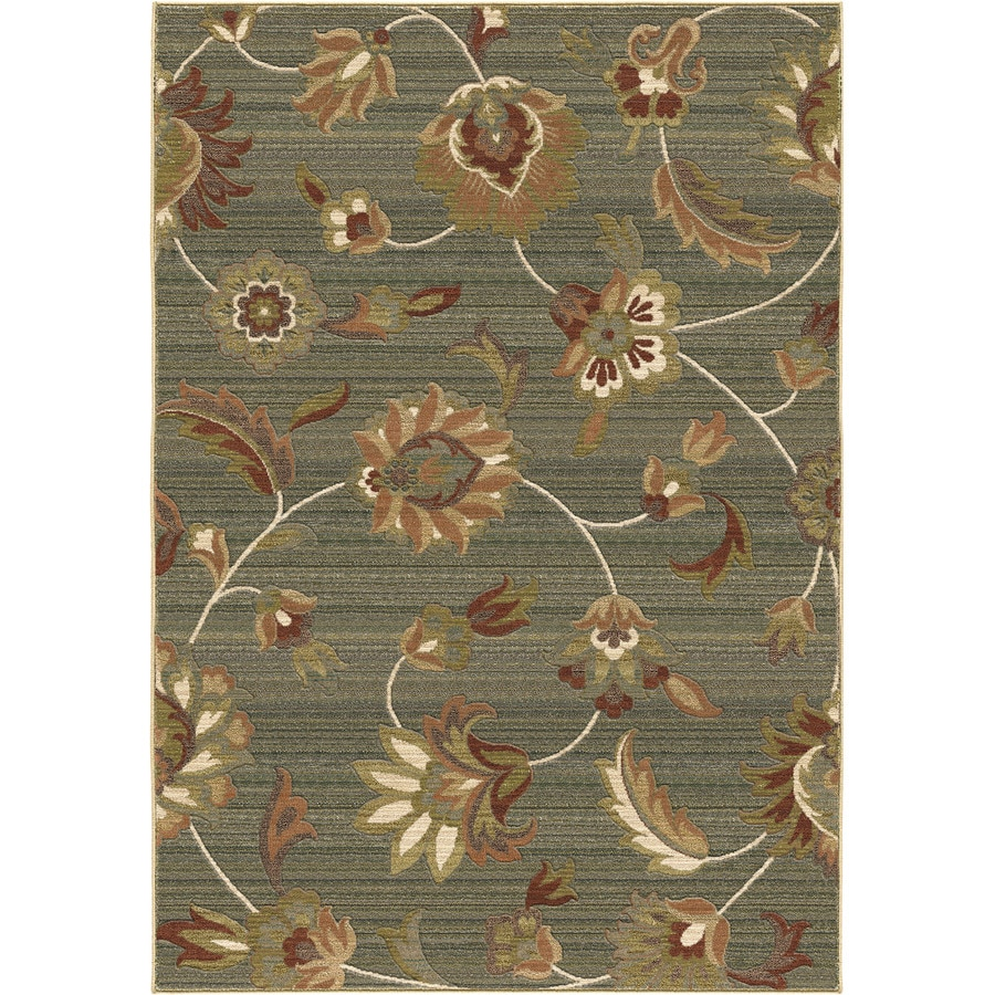 Orian Rugs Garden Story Blue Rectangular Indoor Machine-made Nature Area Rug (Common: 5 x 8; Actual: 5.25-ft W x 7.5-ft L)