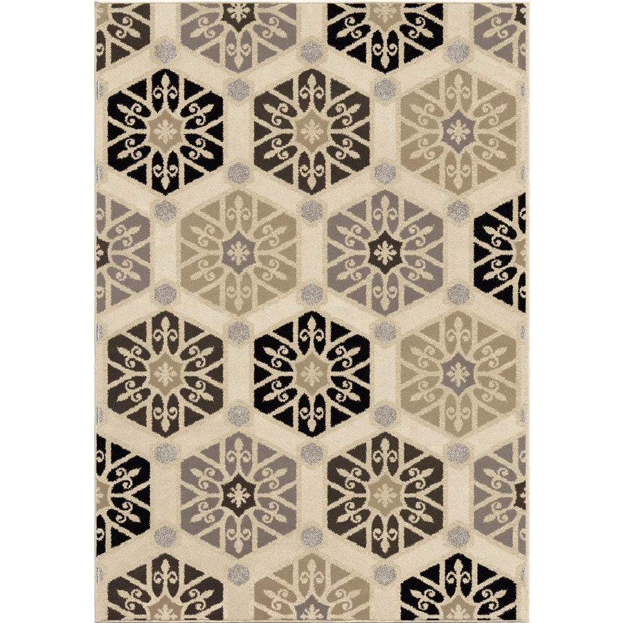 Orian Rugs Capped Off Ivory Rectangular Indoor Machine-made Novelty Area Rug (Common: 5 x 8; Actual: 5.25-ft W x 7.5-ft L)