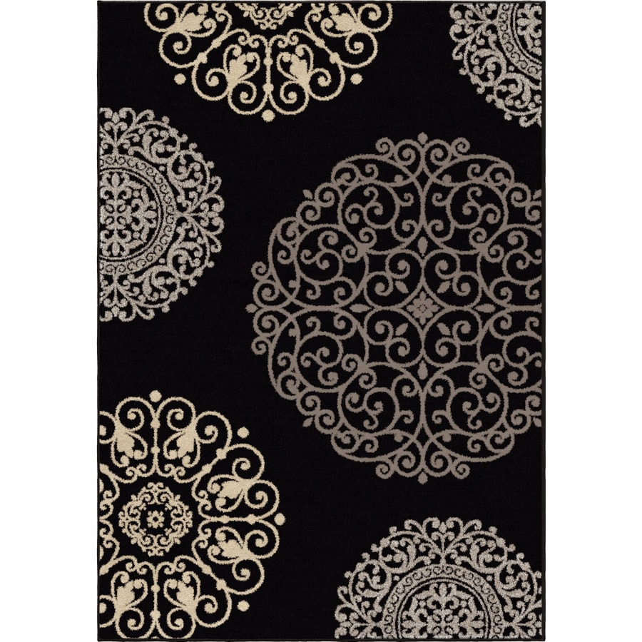 Orian Rugs Illusions Black Rectangular Indoor Machine-made Novelty Area Rug (Common: 5 x 8; Actual: 5.25-ft W x 7.5-ft L)