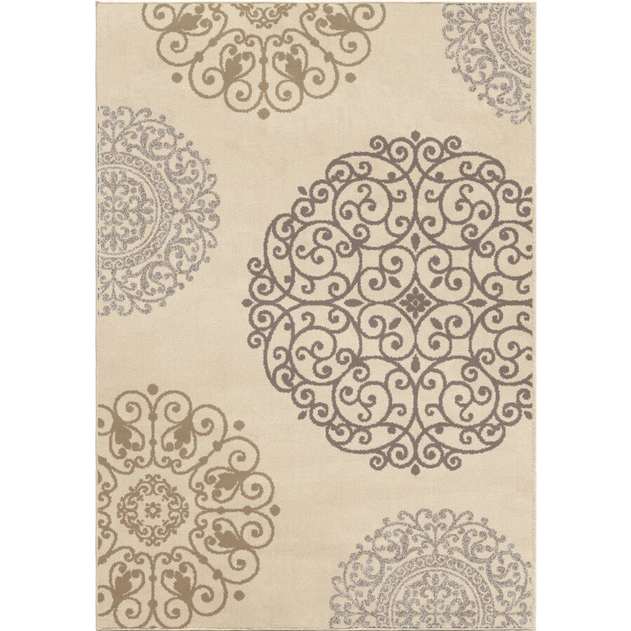 Orian Rugs Santiago Ivory Rectangular Indoor Machine-made Novelty Area Rug (Common: 5 x 8; Actual: 5.25-ft W x 7.5-ft L)