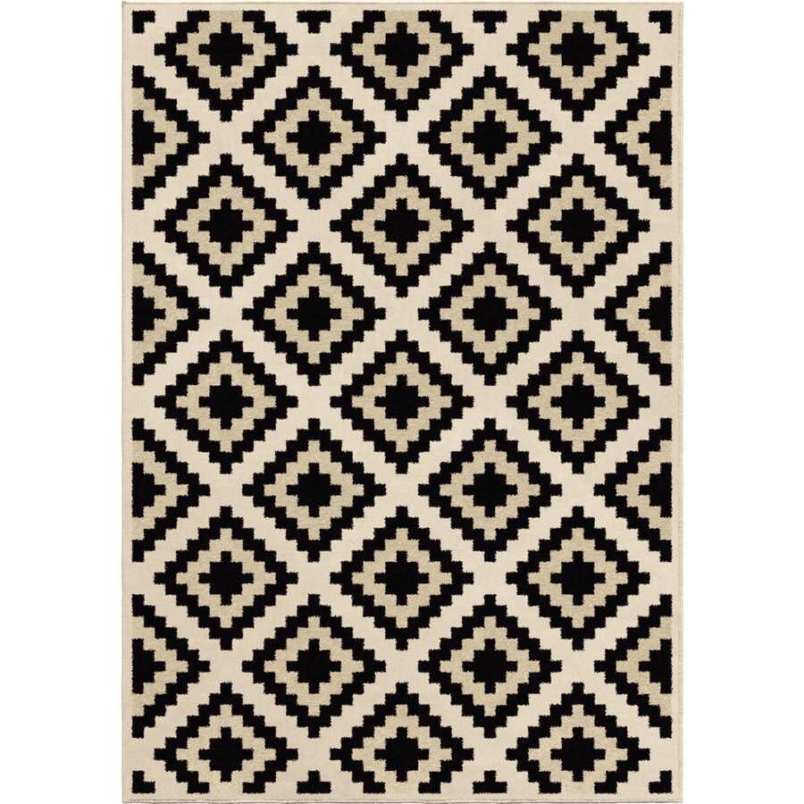 Orian Rugs Carres Ivory Rectangular Indoor Machine-made Novelty Area Rug (Common: 5 x 8; Actual: 5.25-ft W x 7.5-ft L)