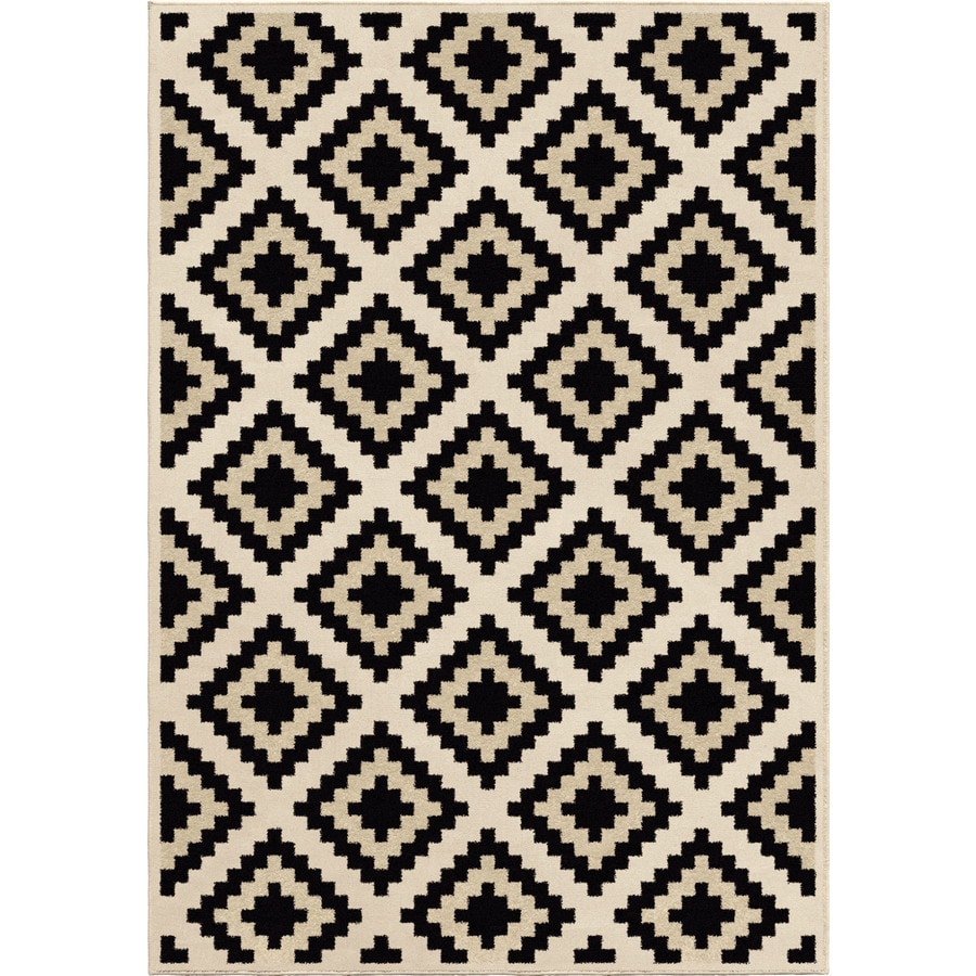 Orian Rugs Carres Ivory Rectangular Indoor Machine-made Novelty Area Rug (Common: 8 x 11; Actual: 7.83-ft W x 10.83-ft L)
