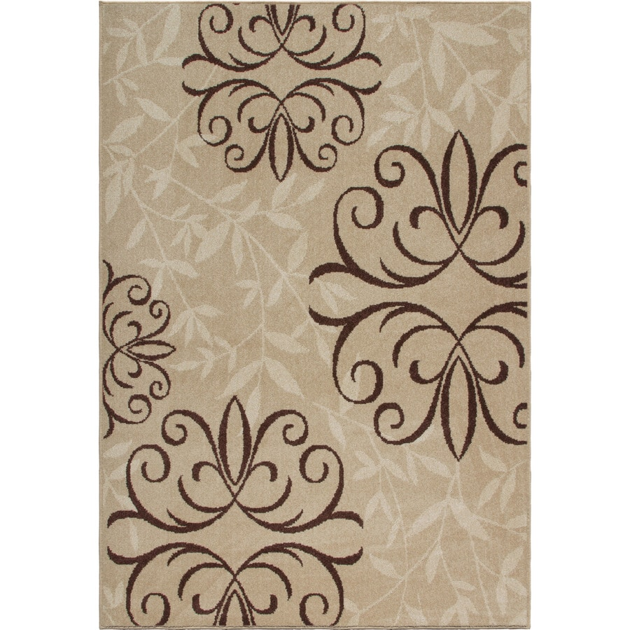 Orian Rugs Fleur Medalln Beige Rectangular Indoor/Outdoor Machine-made Oriental Area Rug (Common: 7 x 10; Actual: 6.42-ft W x 9.67-ft L)