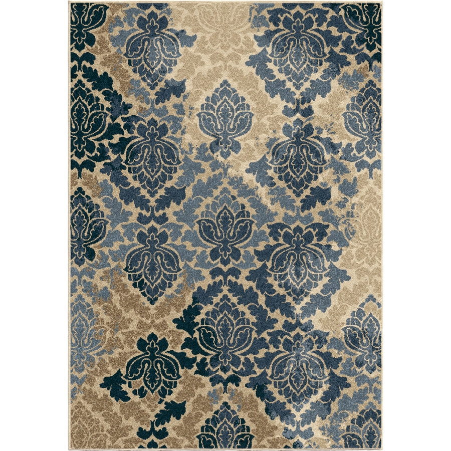 Outdoor Rug 7 X 10: Orian Rugs Victor Damask Blue Indoor/Outdoor Nature Area
