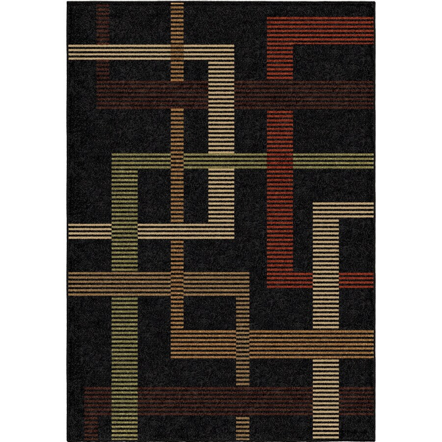 Orian Rugs Arrowood Black Rectangular Indoor/Outdoor Machine-made Novelty Area Rug (Common: 5 x 8; Actual: 5.17-ft W x 7.5-ft L)