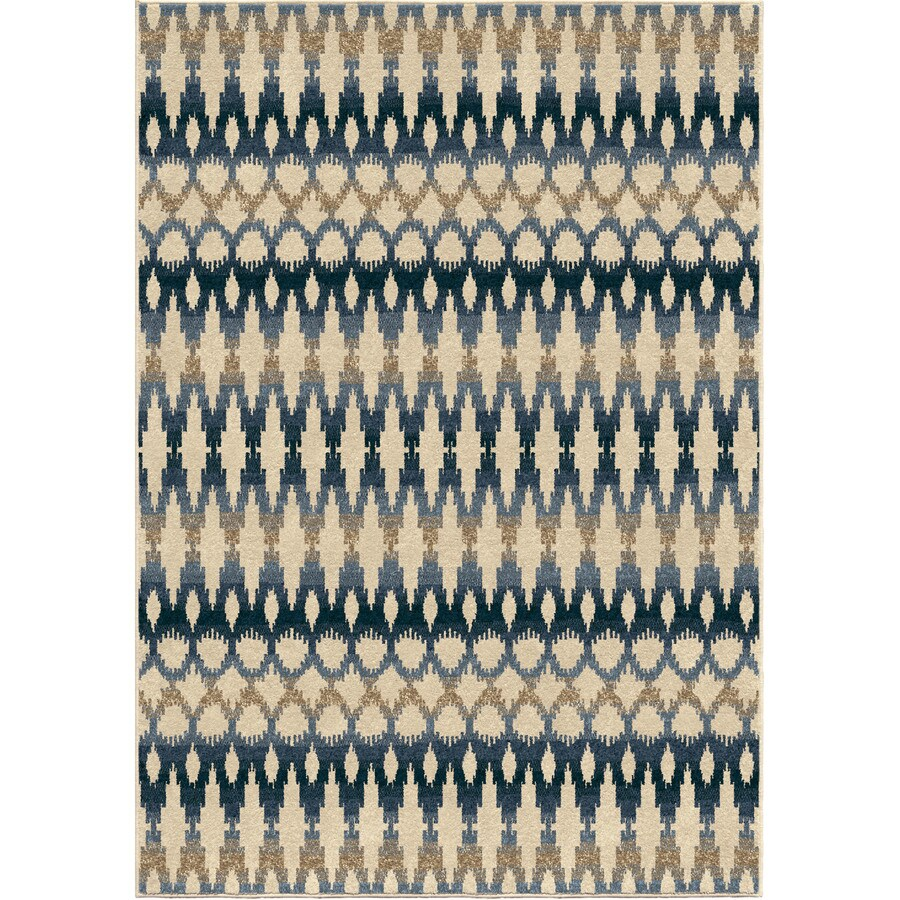 Orian Rugs Vibrant Ikat Ivory Rectangular Indoor/Outdoor Machine-made Southwestern Area Rug (Common: 5 x 8; Actual: 5.17-ft W x 7.5-ft L)