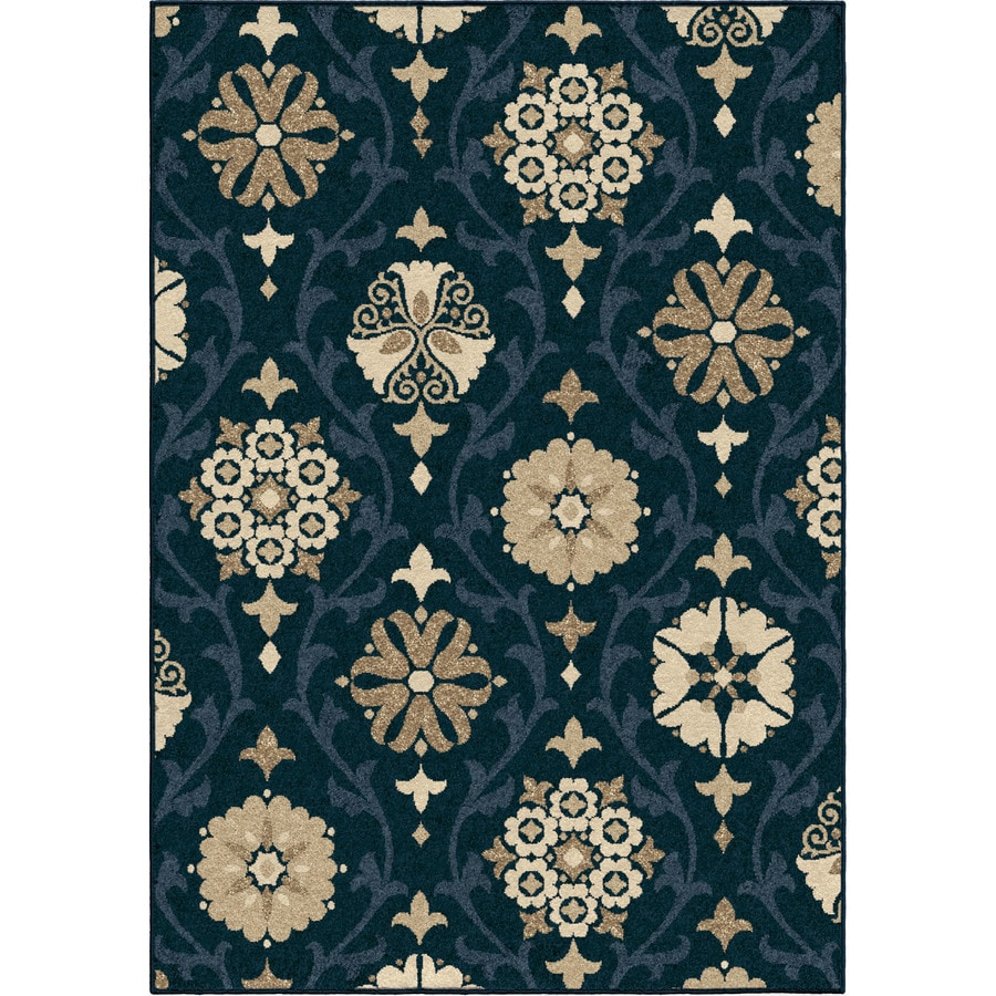Orian Rugs Indio Blue Rectangular Indoor/Outdoor Machine-made Nature Area Rug (Common: 5 x 8; Actual: 5.17-ft W x 7.5-ft L)