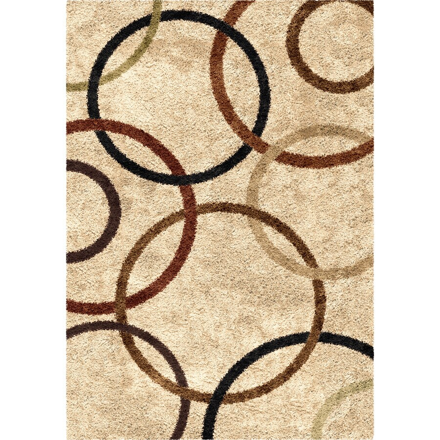 Orian Rugs Circle Life Bisque Indoor Novelty Area Rug (Common: 7 x 10; Actual: 6.58-ft W x 9.67-ft L)