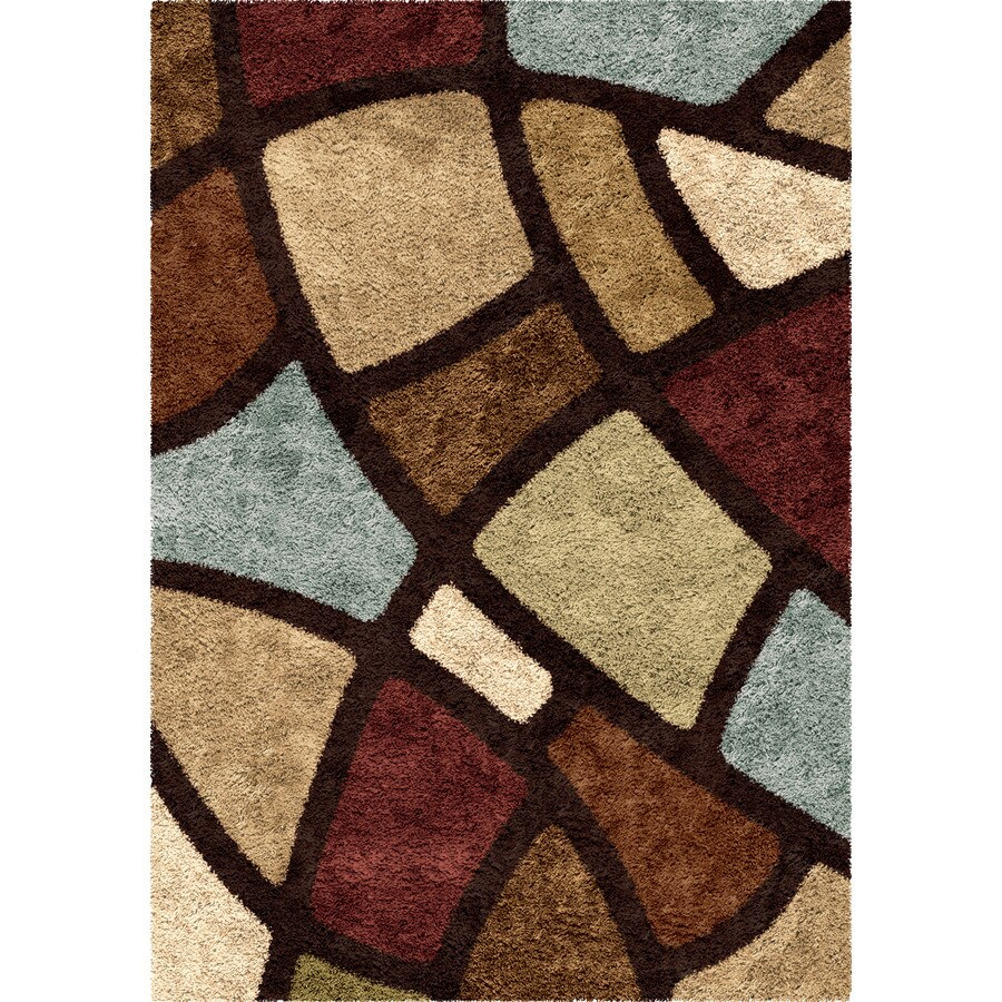 Orian Rugs Oasis Shag Brown Rectangular Indoor Machine-Made Novelty Area Rug (Common: 7 x 10; Actual: 6.58-ft W x 9.67-ft L x 0-ft Dia)