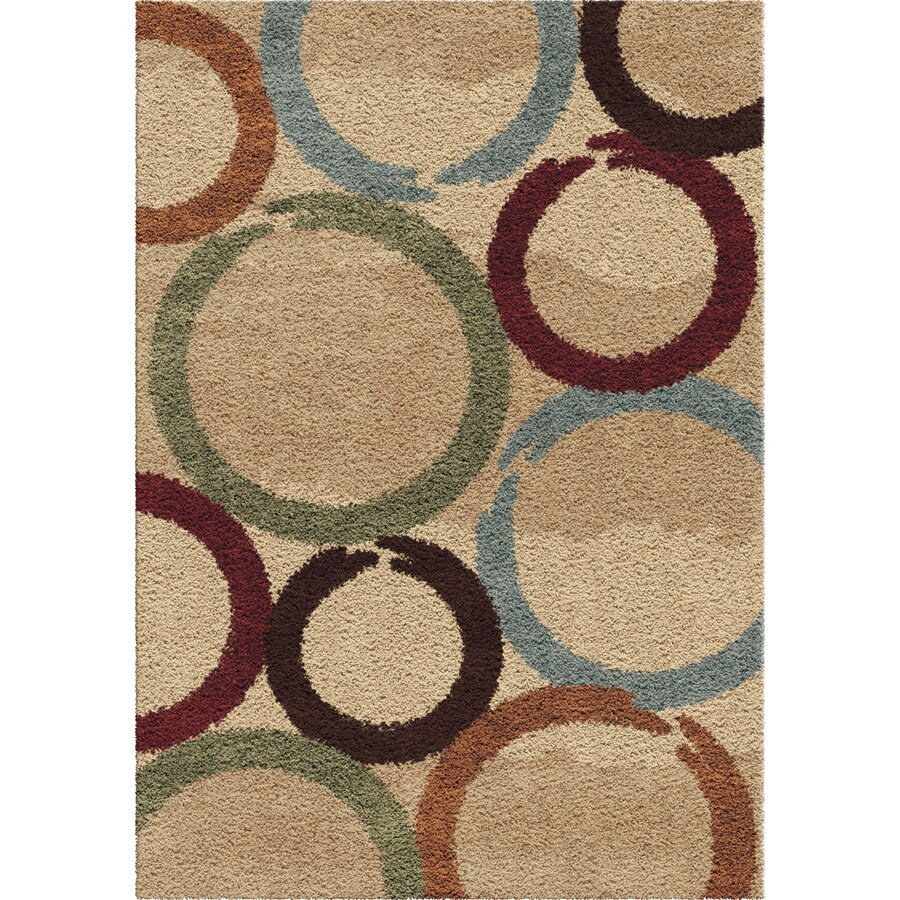 Orian Rugs Oasis Shag Multi Rectangular Indoor Machine-made Novelty Area Rug (Common: 5 x 8; Actual: 5.25-ft W x 7.5-ft L)