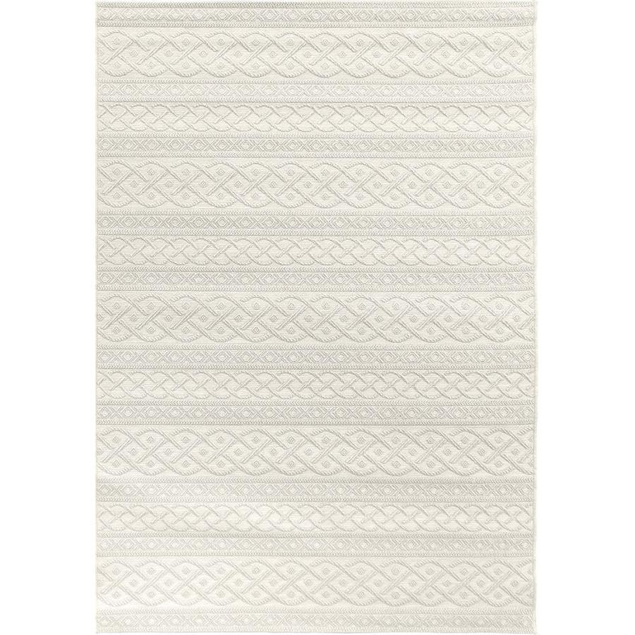 Orian Rugs Tied Up Ivory Rectangular Indoor/Outdoor Machine-made Coastal Area Rug (Common: 5 x 8; Actual: 5.08-ft W x 7.5-ft L)