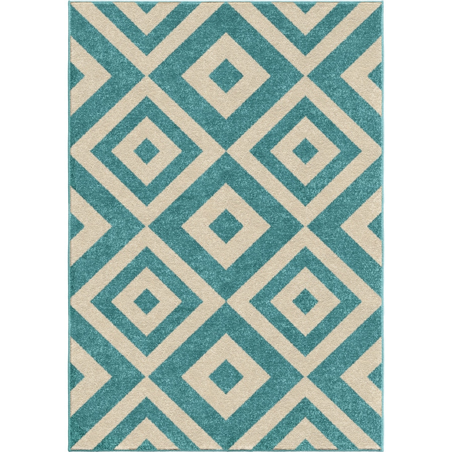 Orian Rugs New River Light Blue Indoor/Outdoor Kids Throw Rug (Common: 4 x 6; Actual: 3.83-ft W x 5.17-ft L)