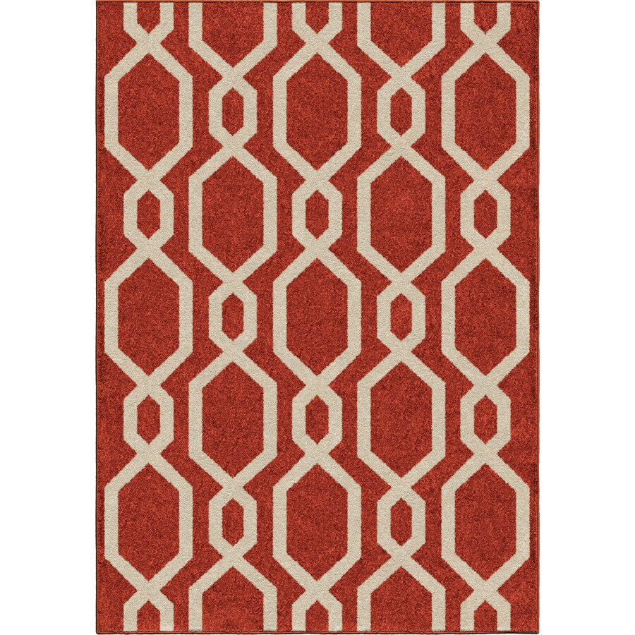 Orian Rugs Cascades Cherry Red Rectangular Indoor/Outdoor Machine-made Kids Area Rug (Common: 5 x 8; Actual: 5.17-ft W x 7.5-ft L)