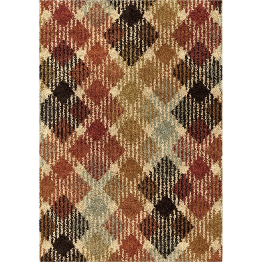 Orian Rugs Checkered Path Multi Rectangular Indoor Machine-made Novelty Area Rug (Common: 5 x 8; Actual: 5.25-ft W x 7.5-ft L)