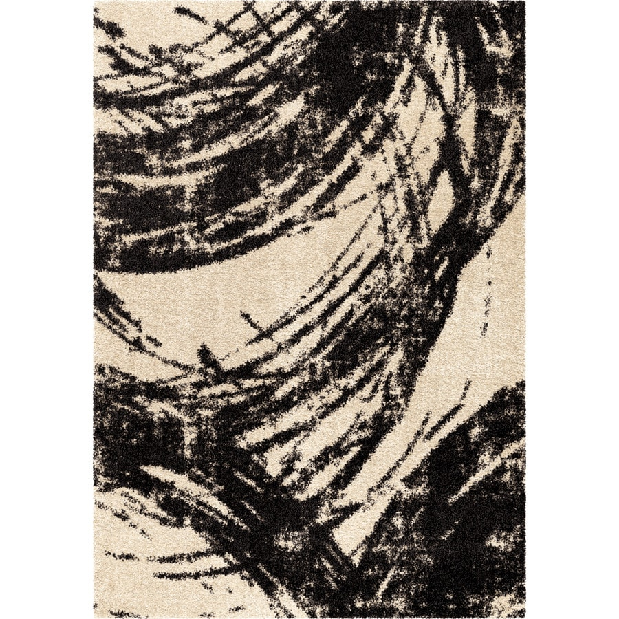 Orian Rugs Sweeping Coal Ivory Rectangular Indoor Machine-made Novelty Area Rug (Common: 8 x 11; Actual: 7.83-ft W x 10.83-ft L)